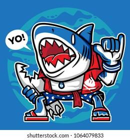 cartoon artwork surfer shark with broken surf board character vector illustration