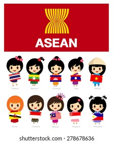 Cartoon of asean with flag - girls character design set