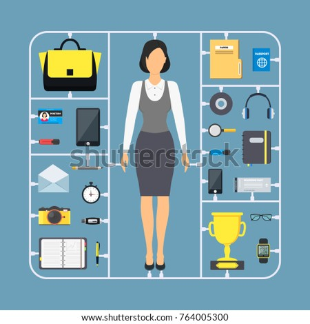 09719d715fdaa Cartoon Assemble Businesswoman Color Icon Set Include of Cup, Bag, Glasses  and Headphones Accessories Concept Flat Design Style. Vector illustration -  ...
