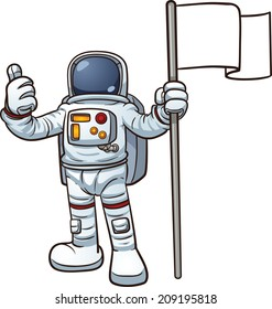 Cartoon astronaut with blank flag. Vector clip art illustration with simple gradients. All in a single layer.