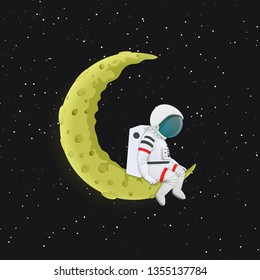 Cartoon astronaut sitting with legs dangling on the yellow crescent Moon. Outer space with stars in the background. Space travel, exploration vector illustration.