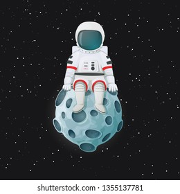 Cartoon astronaut sitting on the Moon. Outer space with stars in the background. Space travel, exploration vector illustration.