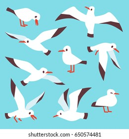 Cartoon atlantic seabird, seagulls flying in blue sky vector set.