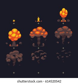 Cartoon atomic bomb explosion, ground explosion with smoke and dust comic animation effect frames. Atomic explosion and cartoon power mushroom. Vector illustration