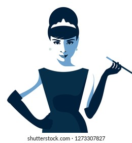 Cartoon Audrey Hepburn. Monochrome vector illustration. January 03, 2019. Editorial use only