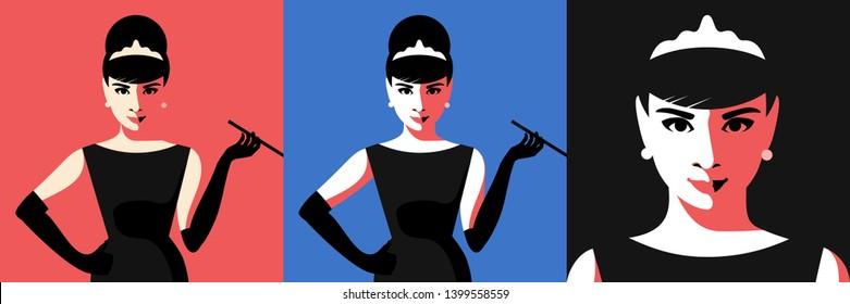 Cartoon Audrey Hepburn. Variations. Vector illustration. May 16, 2019. Editorial use only