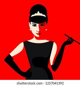 Cartoon Audrey Hepburn. Vector illustration. December 13, 2018. Editorial use only