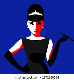 Cartoon Audrey Hepburn. Vector illustration. January 02, 2019. Editorial use only