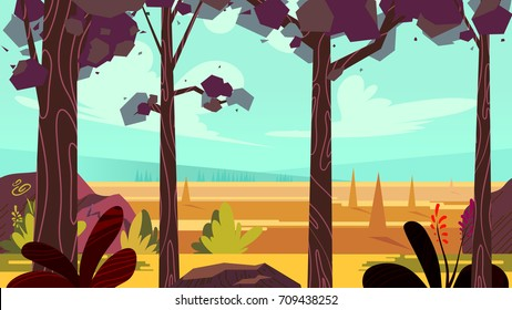 Cartoon autumn forest background. Seamless parallax for arcade video game. Vector illustration, size 1920x1080.