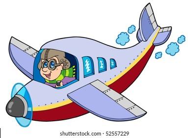 Cartoon aviator on white background - vector illustration.