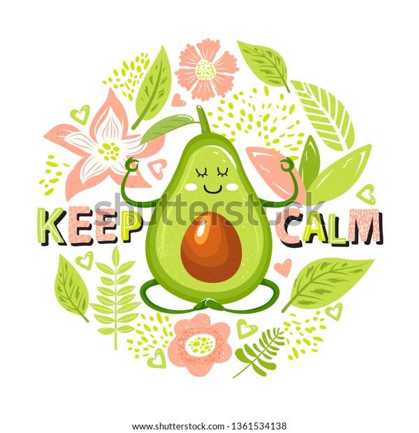 Cartoon Avocado Character Yoga Pose Set Stock Vector Royalty Free 1361534138