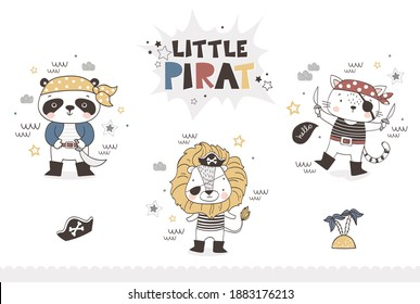 Cartoon baby animal pirate collection. Panda bear, Lion and cat characters icon. Cute hand drawn surface design vector illustration.