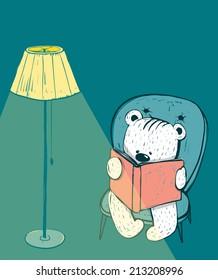 Cartoon Baby Bear Reading a Book. Hand drawn childish bear reading. Vector illustration.
