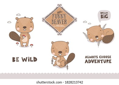 Cartoon baby beaver characters collection. Cute animal icons isolated on white set. Hand drawn shirt print template vector illustration.