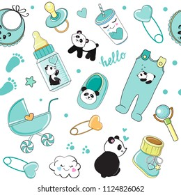 cartoon baby blue elements collection with pandas on a white background seamless pattern