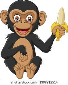 Cartoon baby chimpanzee holding a banana