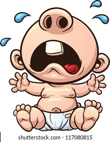 Cartoon baby crying. Vector clip art illustration with simple gradients. All in a single layer.