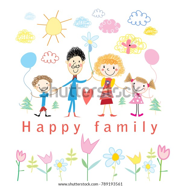 Cartoon baby drawing happy family on white sunsets fones
