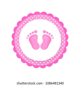 Cartoon Baby footsteps, girls footprint. Baby feet icon. Baby shower tag, sticker for shop advertising. Vector illustration isolated on white background