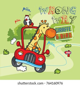cartoon baby giraffe safari vector illustration