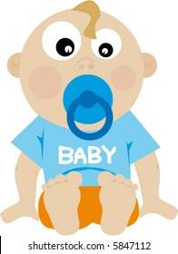 cartoon of baby happy and fun