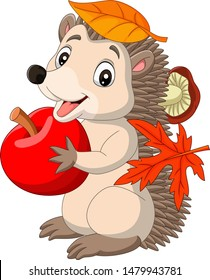 Cartoon baby hedgehog with red apple, autumn leaves and mushroom