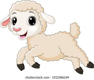 Cartoon baby lamb running on white background