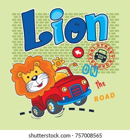 cartoon baby lion cars vector illustration