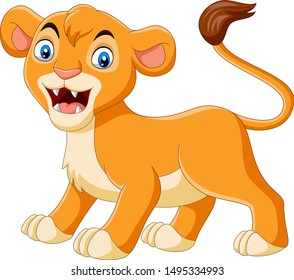 Cartoon baby lioness roaring on white background