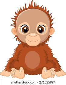 cartoon baby orangutan sitting