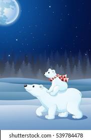 Cartoon baby polar bear riding on her mother's back