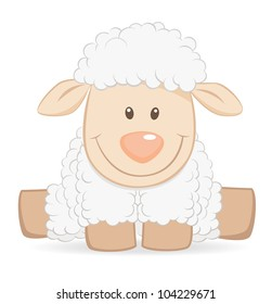 Cartoon baby sheep funny illustration
