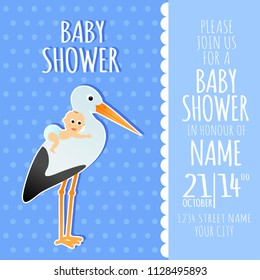 Cartoon baby shower invitation card vector design with stork and baby