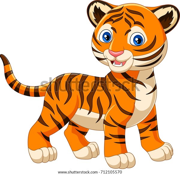 Cartoon Baby Tiger Isolated On White Stock Vector (Royalty ...