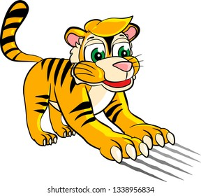 Cartoon baby tiger scratches with sharp claws and leaves marks. Isolated vector illustration on white background.