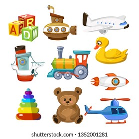 Cartoon baby toys set. Colorful and cute toys for little kid. Childhood objects airplane train animal helicopter submarine teddy bear etc. Preschool children games concept. Vector childhood icon set.