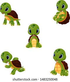 Cartoon baby turtles collection set