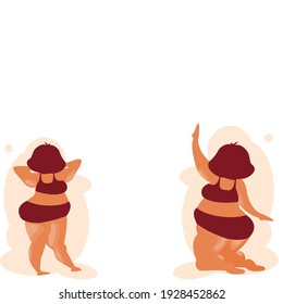 Cartoon  of back side of 2 Fat girl one Standing and one sitting. Character Chubby Girl in relaxing styles . Overweight Female body template.Vector illustration flat design idea for healthcare