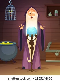 Cartoon background with accessories of wizard or magician. Wizard magician with magical ball illustration vector