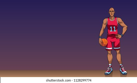 Cartoon background with basketball player on basketball court, and copy space for your text.