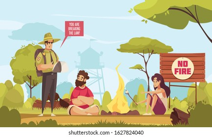 Cartoon background with forest ranger and two people breaking law making fire in forest vector illustration