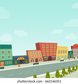 Cartoon background houses street line panorama cityscape in perspective for kids fun, vector illustration