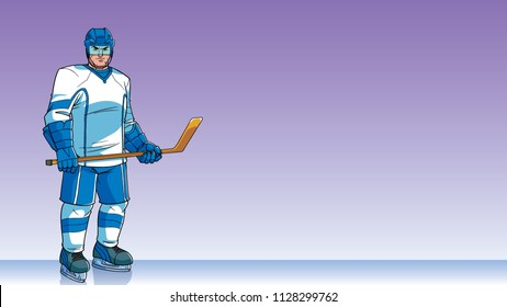 Cartoon background with ice hockey player on ice hockey rink, and copy space for your text.
