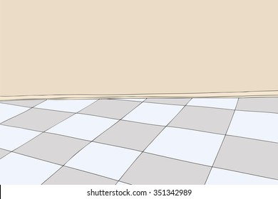 Cartoon background of room with blank wall and checkered floor