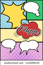 Cartoon background with speech bubbles, vector illustration