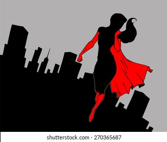 Cartoon background with superhero wearing red cape in black silhouette