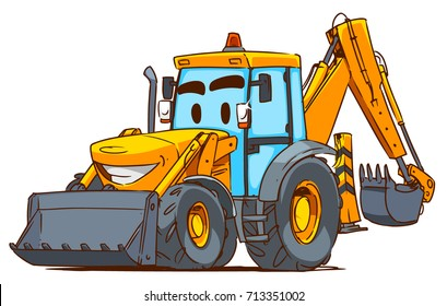 Cartoon Backhoe loader