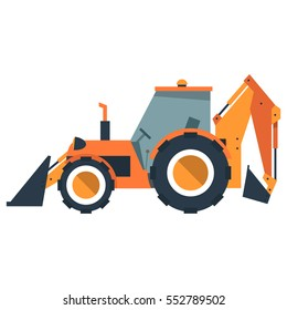 Cartoon backhoe loader. Construction machines. Tractor in flat style. Vector illustration isolated on white background.