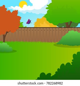 Cartoon backyard landscape with green meadow, bushes, trees, wooden fence, blue sky and flying butterfly. Summer nature background. Sunny day. Flat vector design
