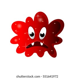 Cartoon bacteria, fun character, cute monster with shapes, colors and facial expression. Funny virus cell and microbe. Cartoon design. Vector isolated on white background.